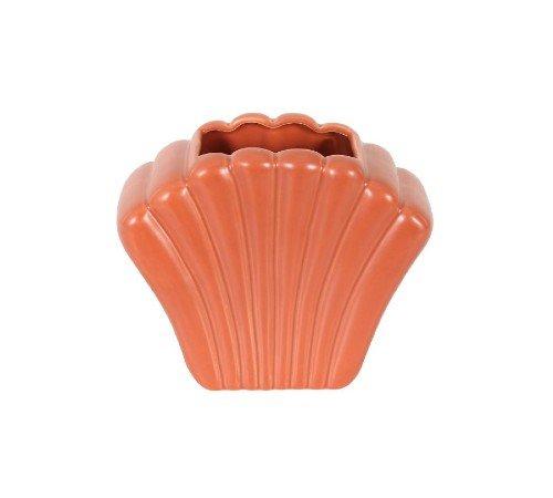 Vaas 'Shell', trendy vaas in de vorm van een schelp, rode_zalm vaas, moderne vaas, trendy vaas, trenchic, 43316-054-Jungle