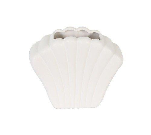 Vaas 'Shell', trendy vaas in de vorm van een schelp, witte vaas, moderne vaas, trendy vaas, trenchic, 43316-045-Jungle