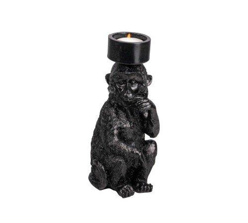 Kaarsenhouder 'Monkey', trendy theelichthouder monkey zwart, zittende aap kaarsenhouder, 04287530-Jungle, trenchic
