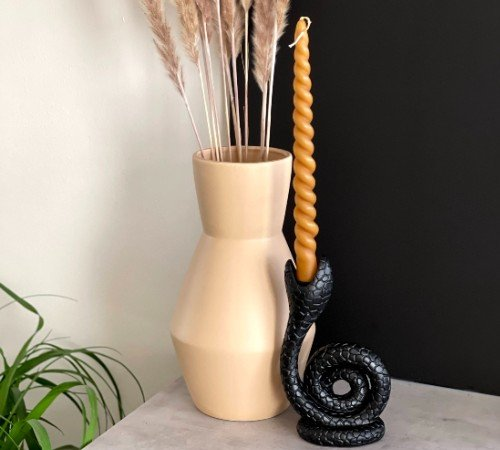 Kaarsenhouder 'Snake', trendy kaarsenhouder zwart, kandelaar in de vorm van een slang, junglemush,XET-4573-Jungle, 2
