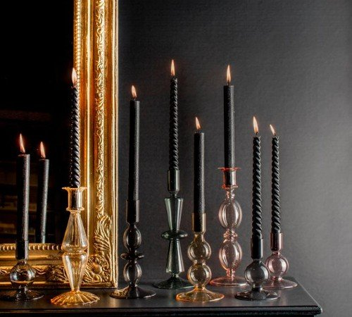 Kaarsenhouder 'Vintage', strakke kaarsenhouder blauw, trendy kaarsenhouder, glazen kaarsenhouder, trenchic, junglemush, 04287480-Jungle-1