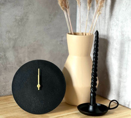 Staande klok 'Moon', trendy staande klok, moderne klok, zwarte klok met goud, ronde klok, trenchic, junglemush, 070025-Jungle, 2