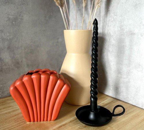 Vaas 'Shell', trendy vaas in de vorm van een schelp, rode_zalm vaas, moderne vaas, trendy vaas, trenchic, 43316-054-Jungle, 2