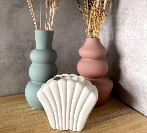 Vaas 'Shell', trendy vaas in de vorm van een schelp, witte vaas, moderne vaas, trendy vaas, trenchic, 43316-045-Jungle, 2